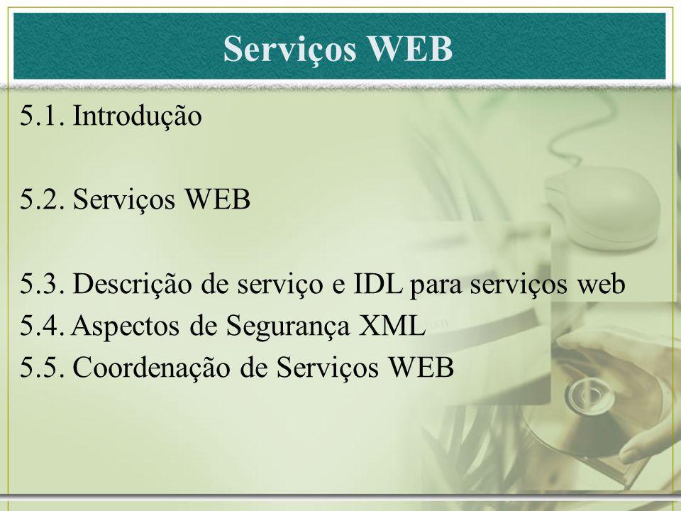Serviços WEB 5.1. Introdução 5.2. Serviços WEB
