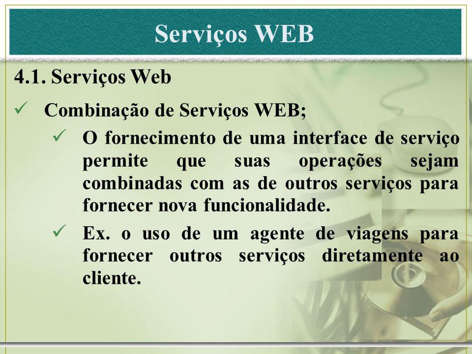 Serviços WEB 4.1. Serviços Web Combinação de Serviços WEB;