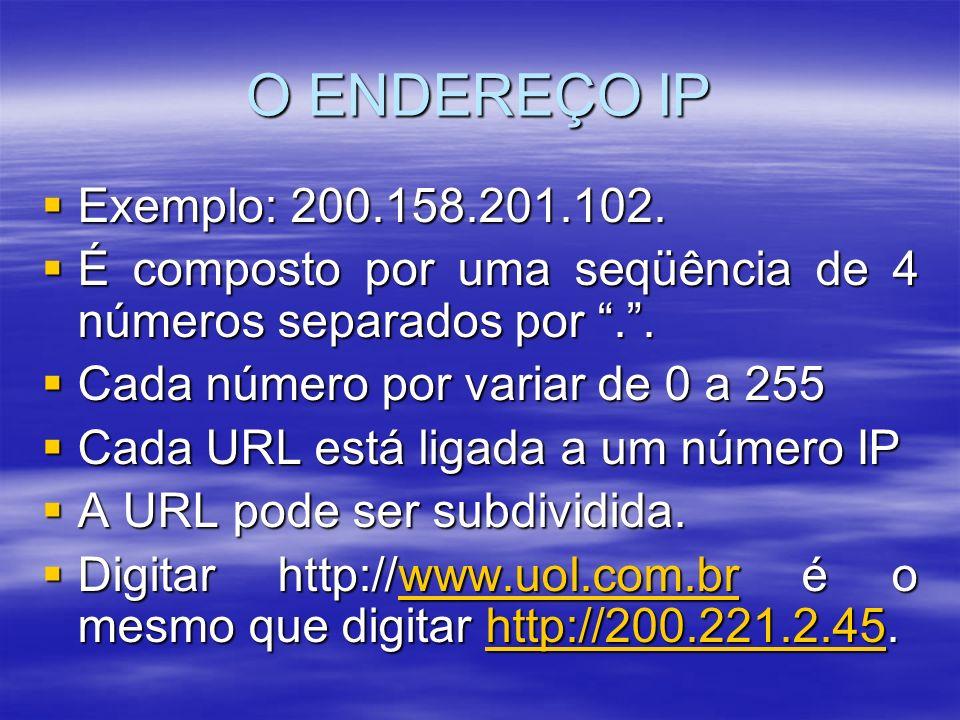 O ENDEREÇO IP Exemplo: 200.158.201.102. É composto por uma seqüência de 4 números separados por . .