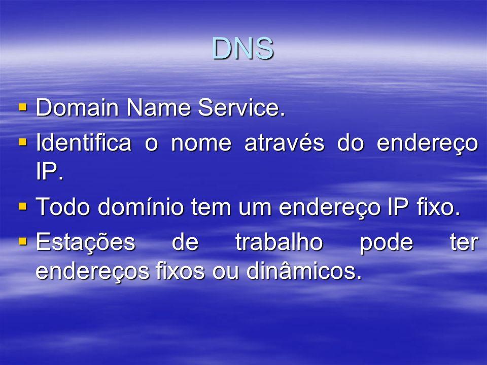 DNS Domain Name Service. Identifica o nome através do endereço IP.