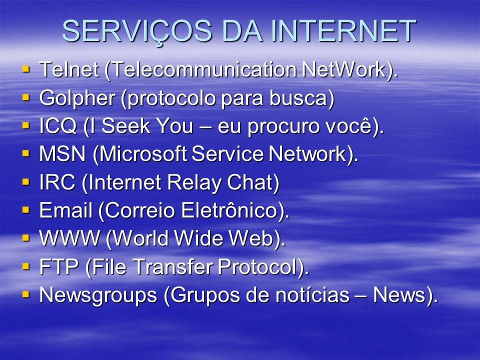 SERVIÇOS DA INTERNET Telnet (Telecommunication NetWork).