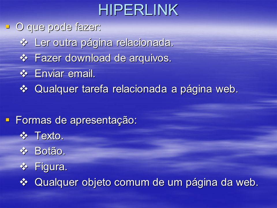 HIPERLINK O que pode fazer: Ler outra página relacionada.
