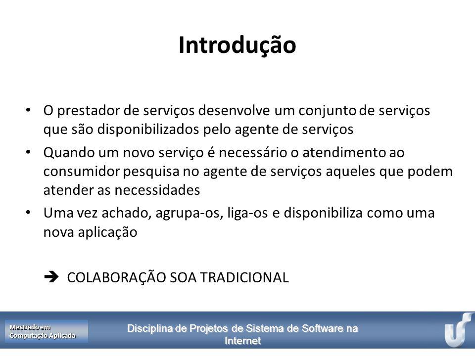 Introdução O prestador de serviços desenvolve um conjunto de serviços que são disponibilizados pelo agente de serviços.