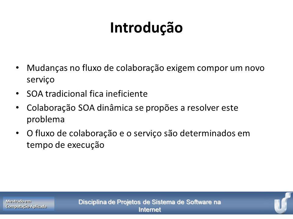 Introdução Mudanças no fluxo de colaboração exigem compor um novo serviço. SOA tradicional fica ineficiente.