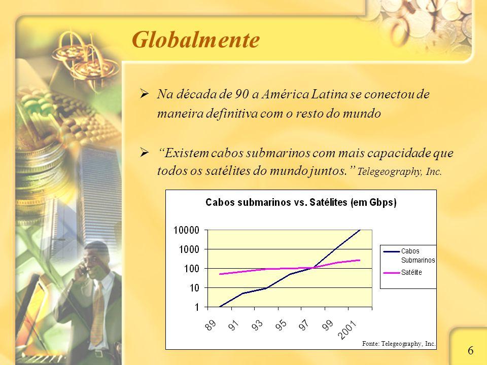 Globalmente Na década de 90 a América Latina se conectou de maneira definitiva com o resto do mundo.