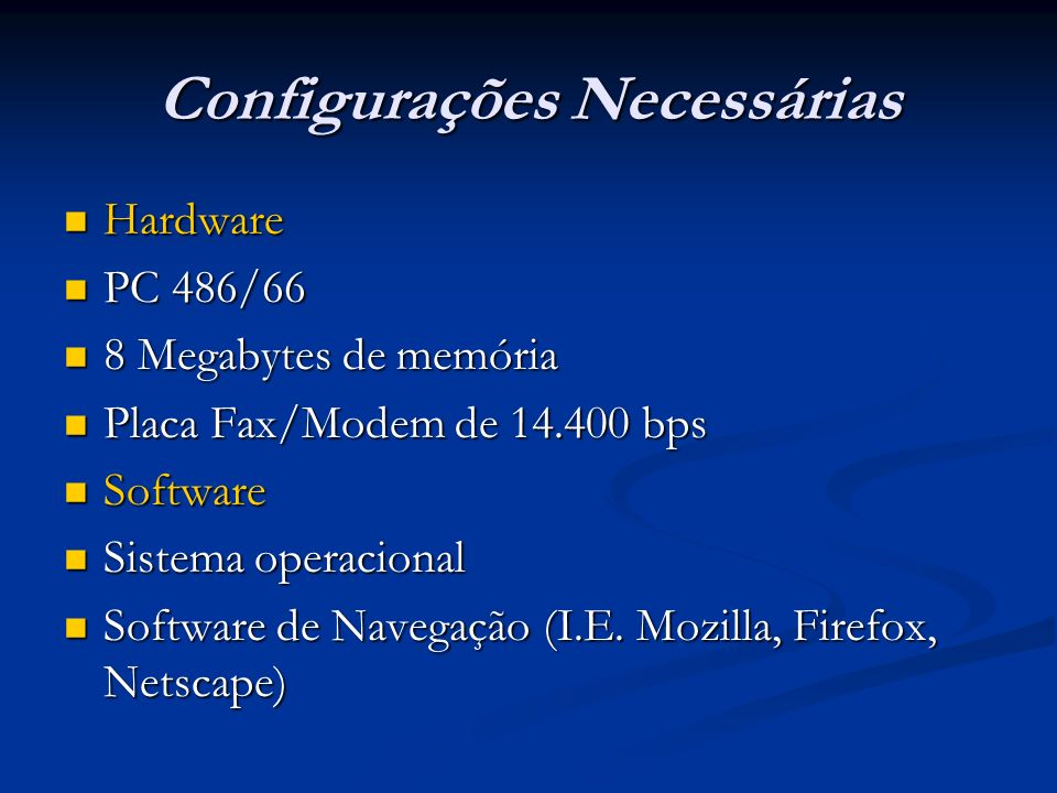 Configurações Necessárias