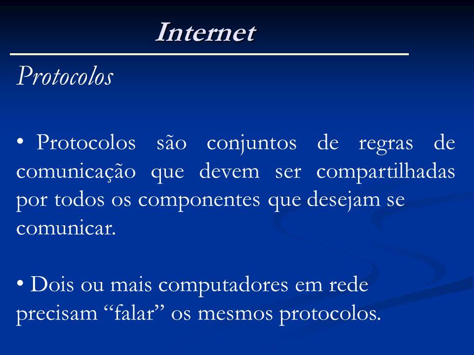 Internet Protocolos. Protocolos são conjuntos de regras de comunicação que devem ser compartilhadas por todos os componentes que desejam se.