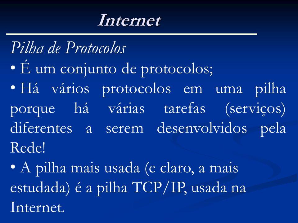 Internet Pilha de Protocolos É um conjunto de protocolos;
