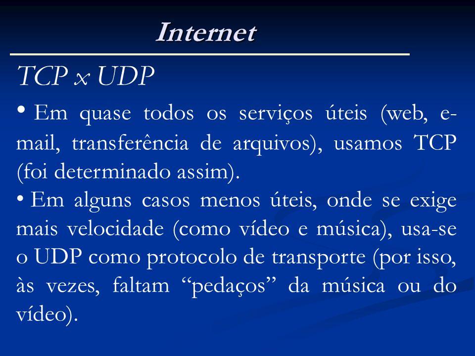 Internet TCP x UDP. Em quase todos os serviços úteis (web, e-mail, transferência de arquivos), usamos TCP (foi determinado assim).