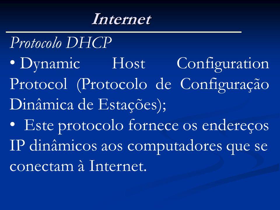 Internet Protocolo DHCP. Dynamic Host Configuration Protocol (Protocolo de Configuração Dinâmica de Estações);
