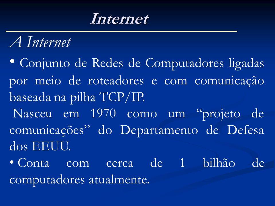 Internet A Internet. Conjunto de Redes de Computadores ligadas por meio de roteadores e com comunicação baseada na pilha TCP/IP.