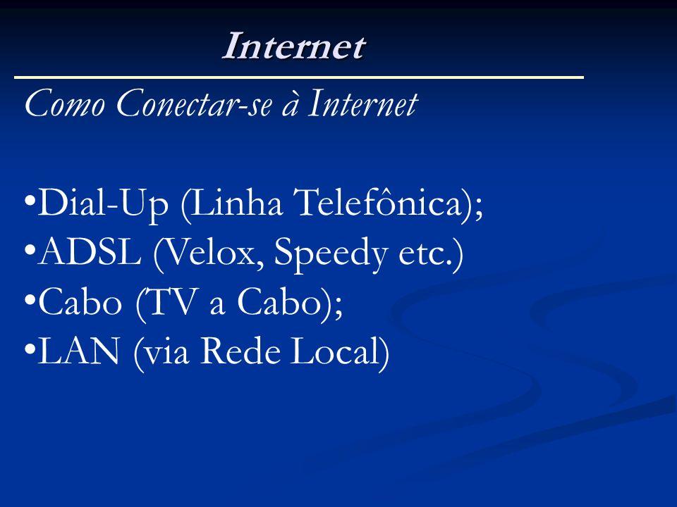 Internet Como Conectar-se à Internet. Dial-Up (Linha Telefônica); ADSL (Velox, Speedy etc.) Cabo (TV a Cabo);