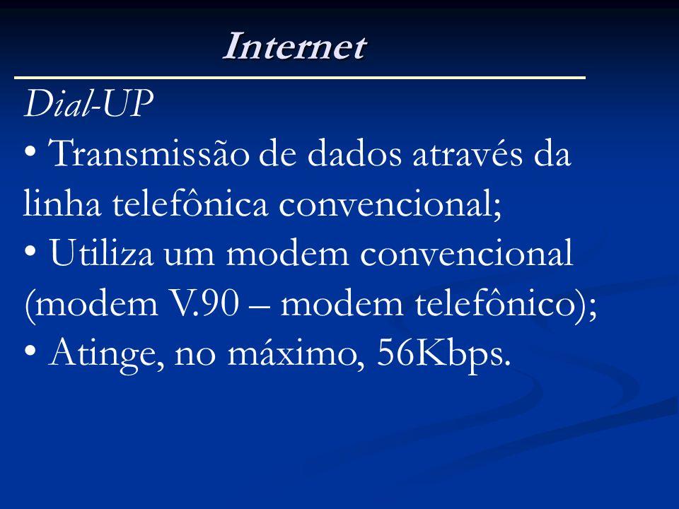 Internet Dial-UP. Transmissão de dados através da linha telefônica convencional; Utiliza um modem convencional.