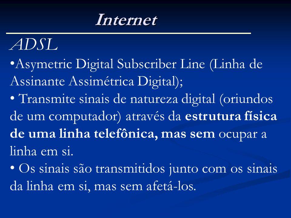 Internet ADSL. Asymetric Digital Subscriber Line (Linha de Assinante Assimétrica Digital);