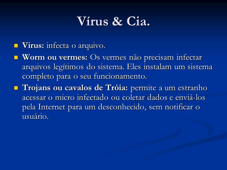 Vírus & Cia. Virus: infecta o arquivo.