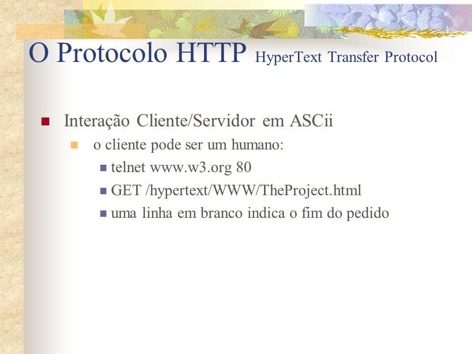 O Protocolo HTTP HyperText Transfer Protocol