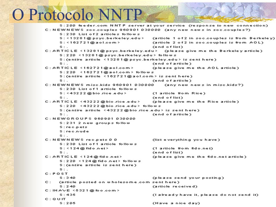 O Protocolo NNTP