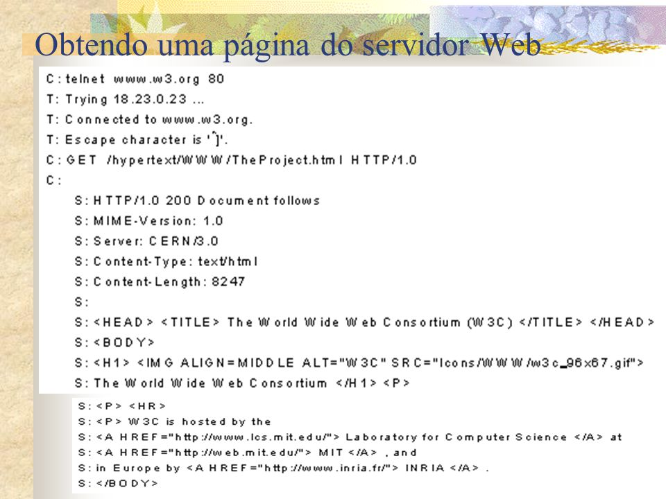 Obtendo uma página do servidor Web