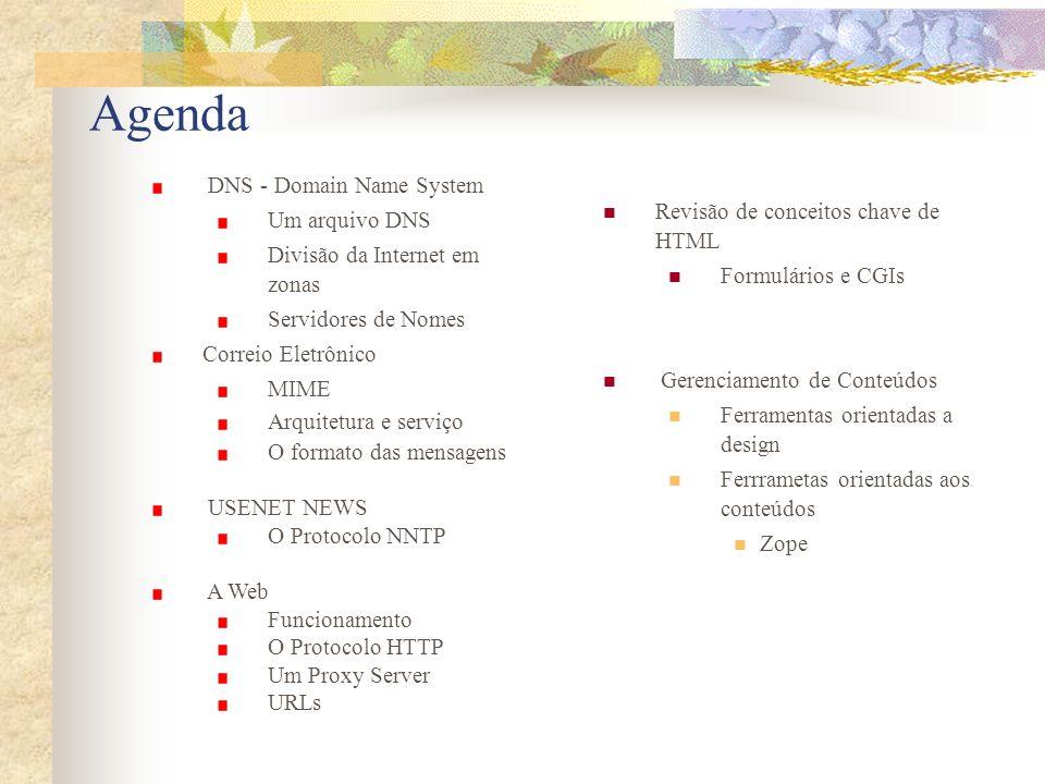 Agenda DNS - Domain Name System Revisão de conceitos chave de HTML