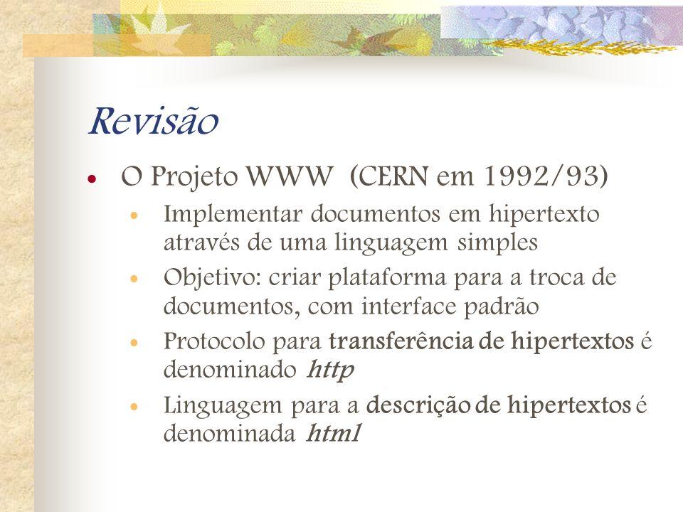 Revisão O Projeto WWW (CERN em 1992/93)