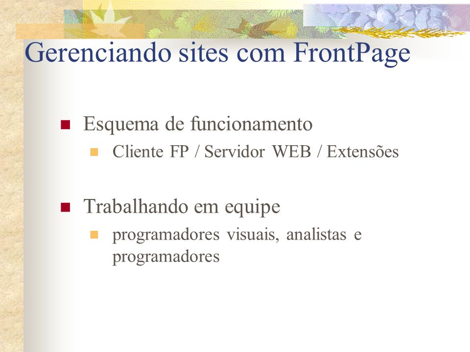 Gerenciando sites com FrontPage