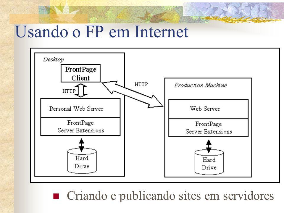 Usando o FP em Internet Criando e publicando sites em servidores