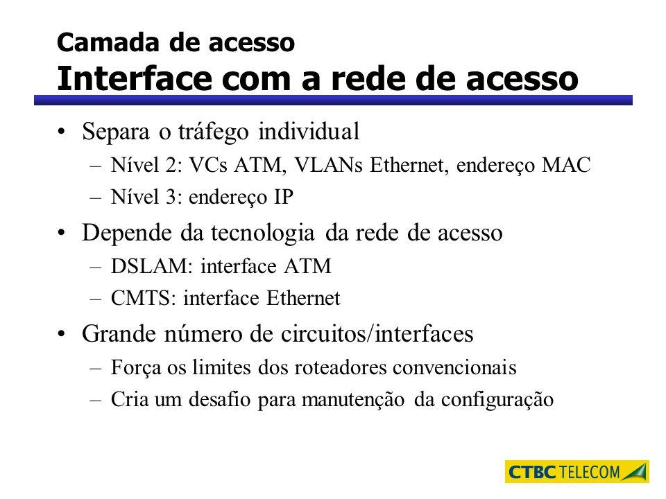 Camada de acesso Interface com a rede de acesso