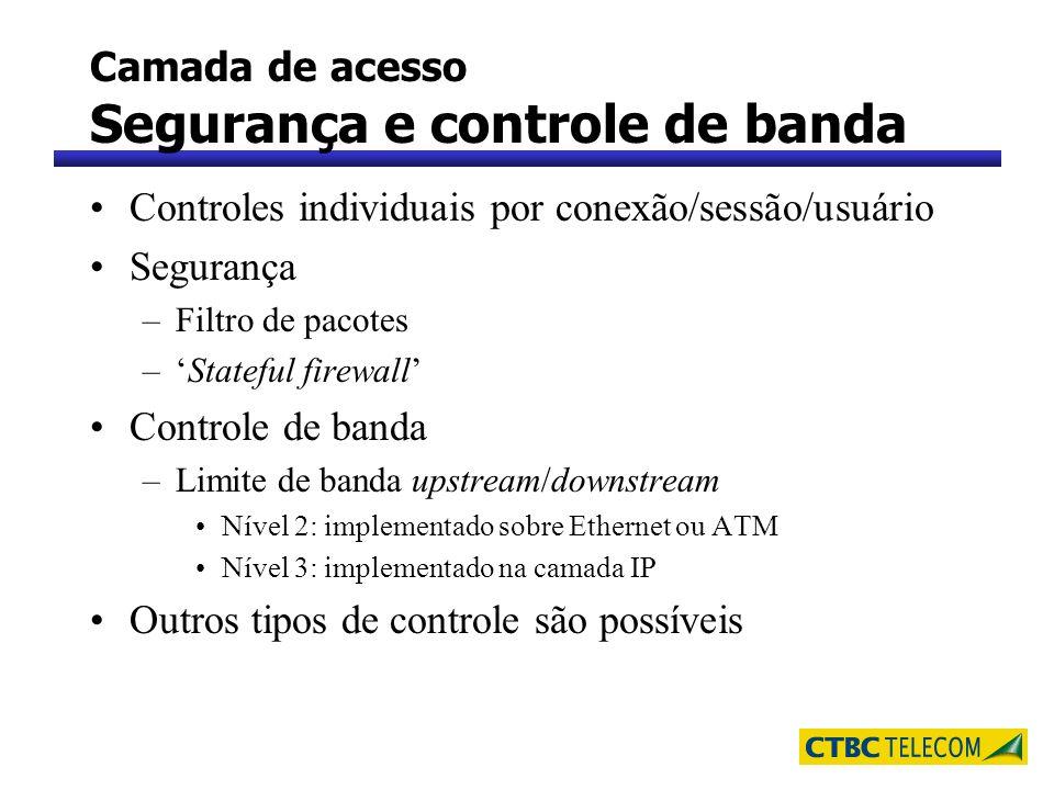 Camada de acesso Segurança e controle de banda