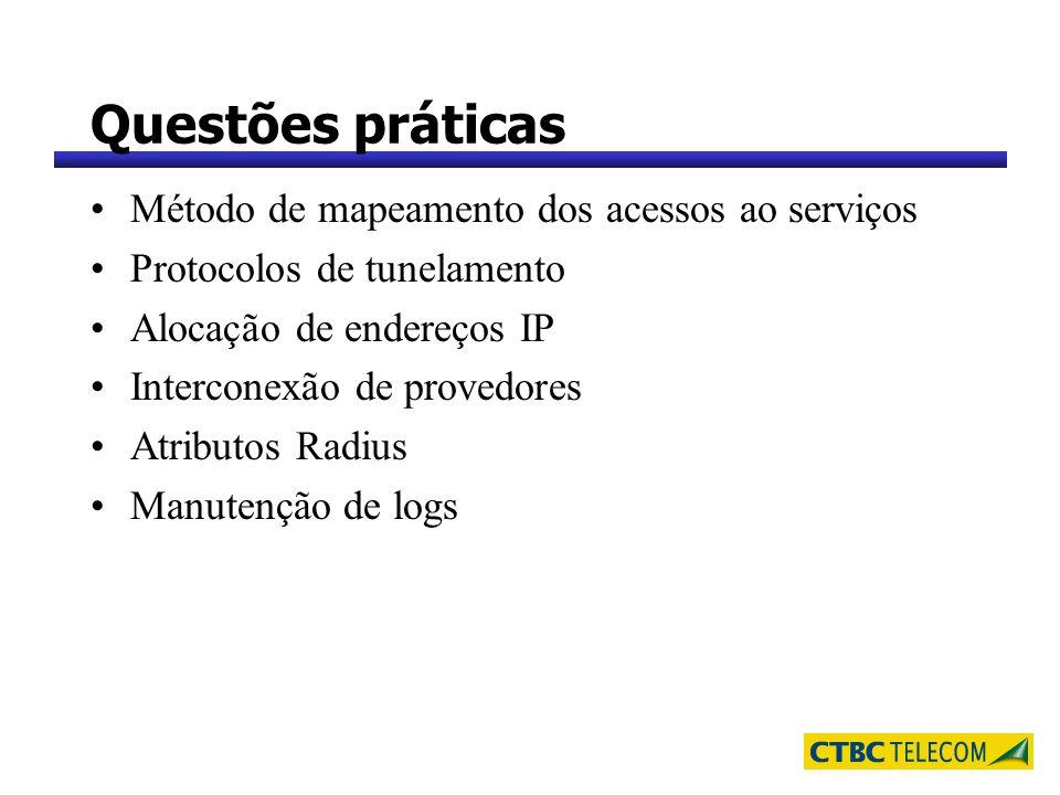 Questões práticas Método de mapeamento dos acessos ao serviços