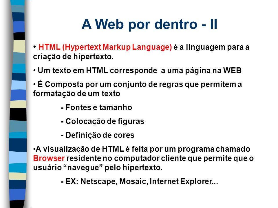 A Web por dentro - II HTML (Hypertext Markup Language) é a linguagem para a criação de hipertexto. Um texto em HTML corresponde a uma página na WEB.