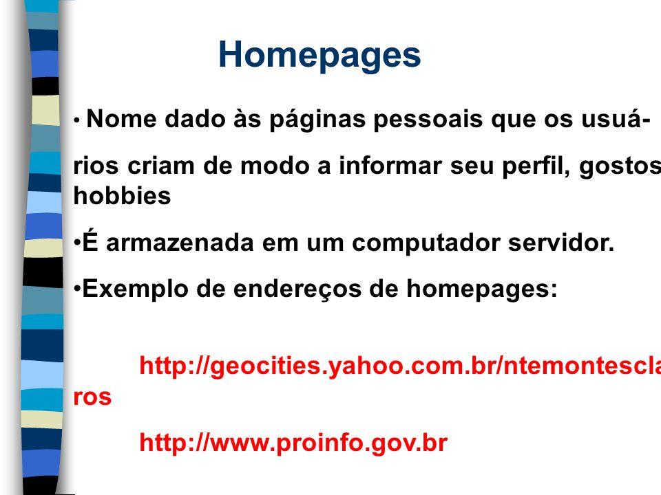 Homepages rios criam de modo a informar seu perfil, gostos, hobbies