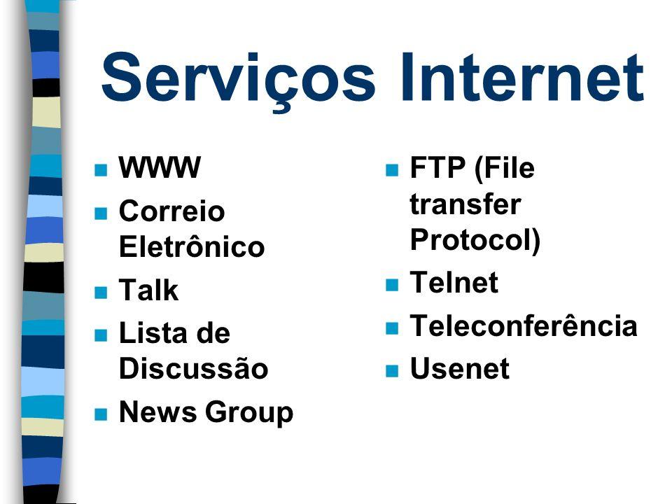 Serviços Internet WWW Correio Eletrônico Talk Lista de Discussão