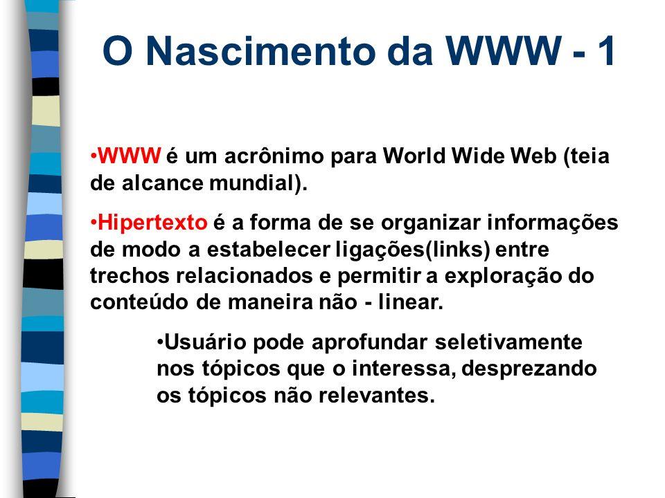 O Nascimento da WWW - 1 WWW é um acrônimo para World Wide Web (teia de alcance mundial).