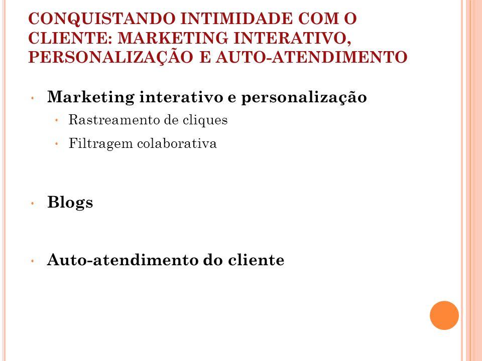 CONQUISTANDO INTIMIDADE COM O CLIENTE: MARKETING INTERATIVO, PERSONALIZAÇÃO E AUTO-ATENDIMENTO