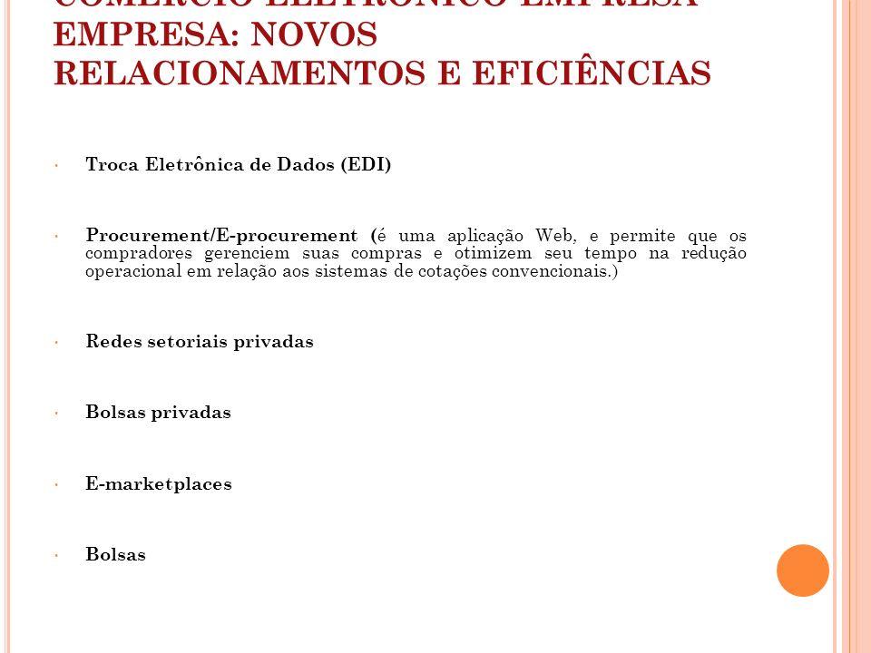 COMÉRCIO ELETRÔNICO EMPRESA-EMPRESA: NOVOS RELACIONAMENTOS E EFICIÊNCIAS