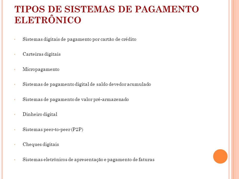 TIPOS DE SISTEMAS DE PAGAMENTO ELETRÔNICO