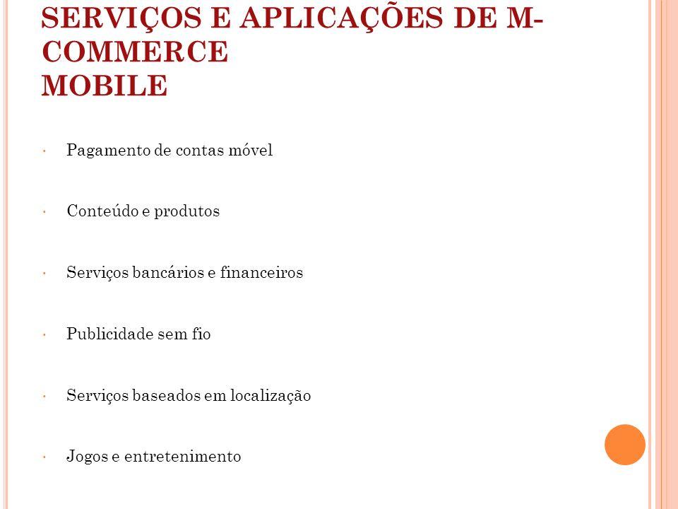 SERVIÇOS E APLICAÇÕES DE M-COMMERCE MOBILE