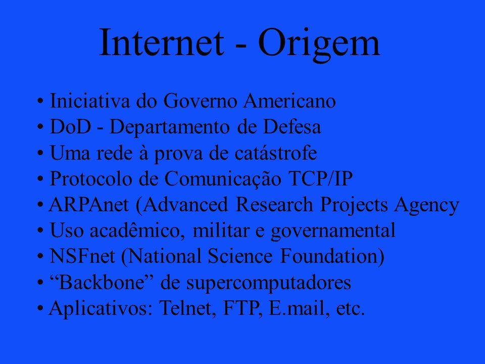 Internet - Origem Iniciativa do Governo Americano