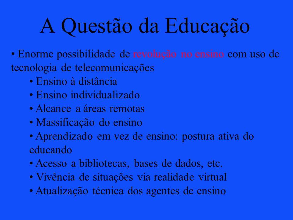 A Questão da Educação Enorme possibilidade de revolução no ensino com uso de tecnologia de telecomunicações.