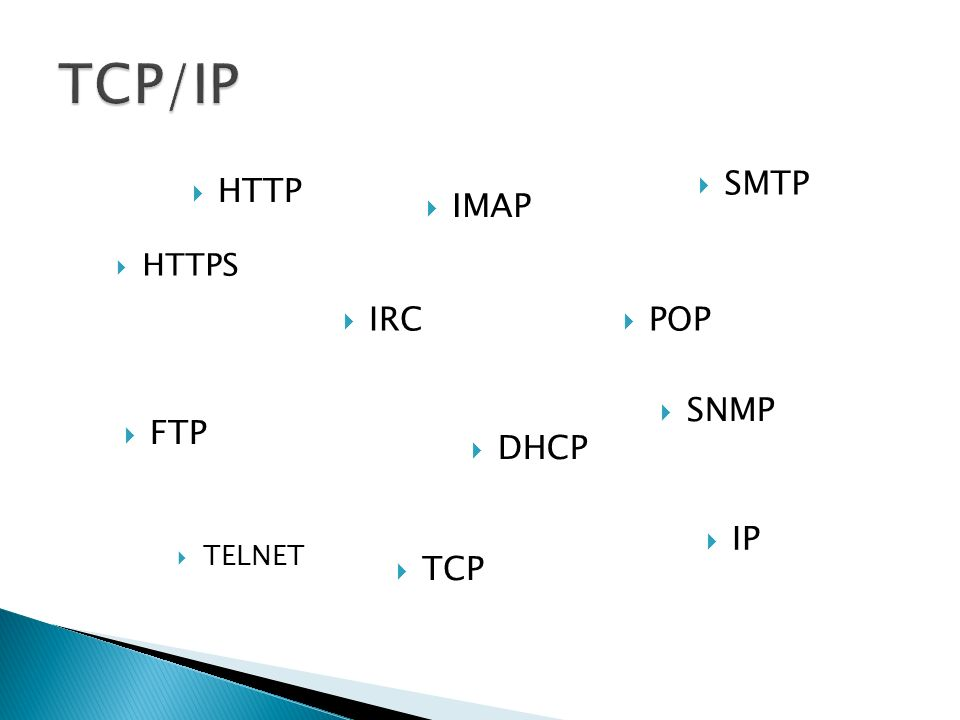 TCP/IP SMTP HTTP IMAP HTTPS IRC POP SNMP FTP DHCP IP TELNET TCP