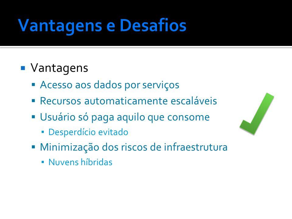 Vantagens e Desafios Vantagens Acesso aos dados por serviços