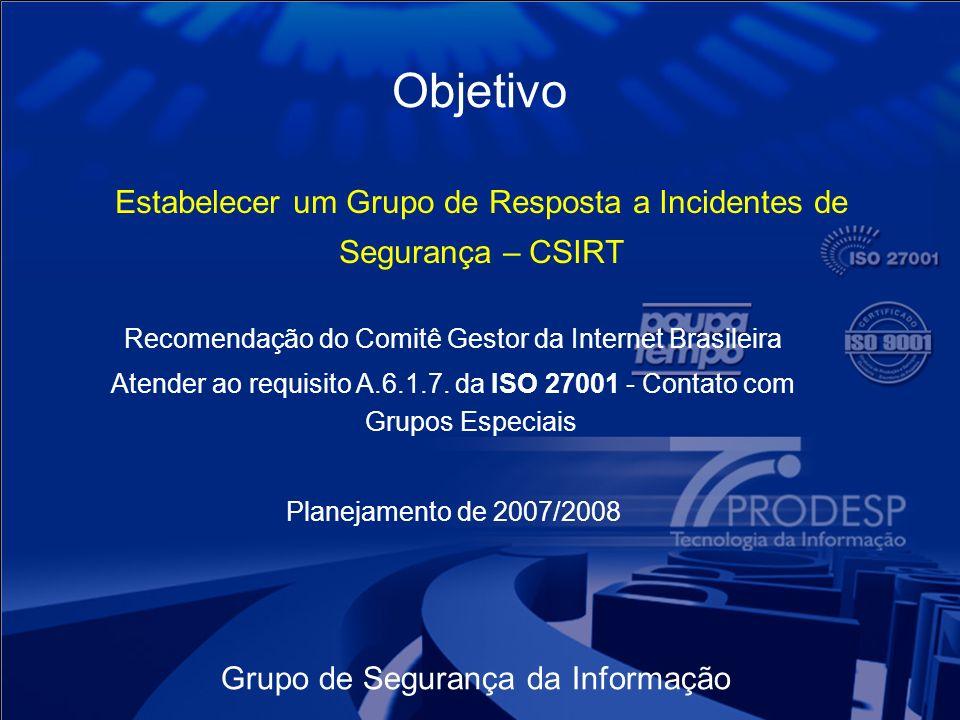 Objetivo Estabelecer um Grupo de Resposta a Incidentes de Segurança – CSIRT. Recomendação do Comitê Gestor da Internet Brasileira.