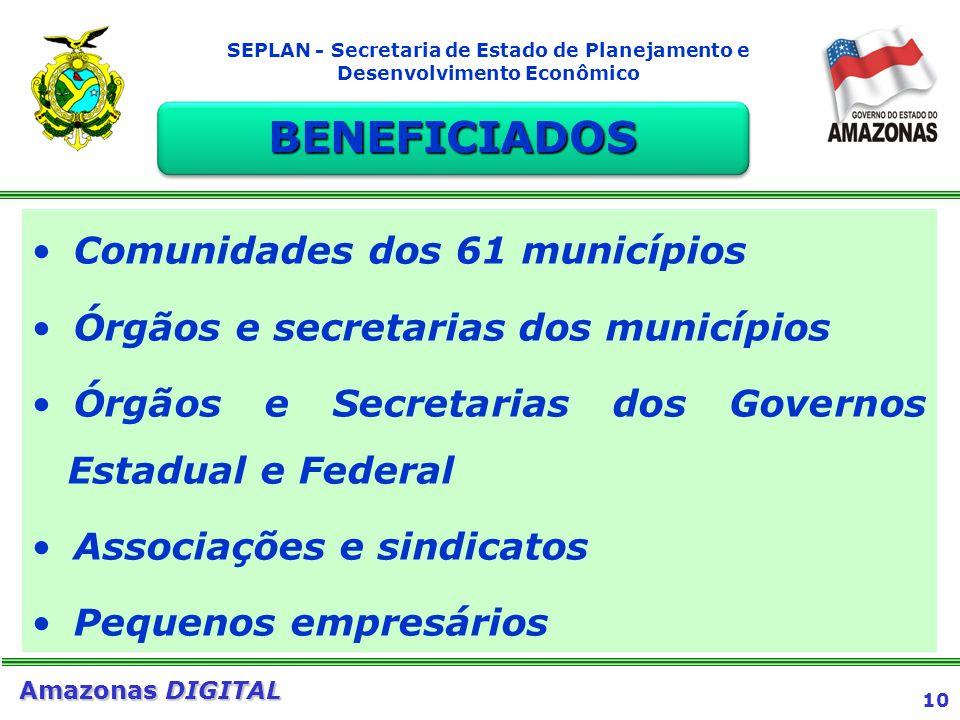 BENEFICIADOS Comunidades dos 61 municípios