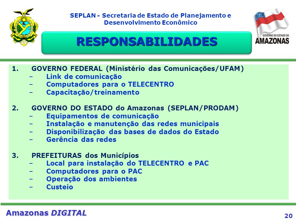RESPONSABILIDADES GOVERNO FEDERAL (Ministério das Comunicações/UFAM)