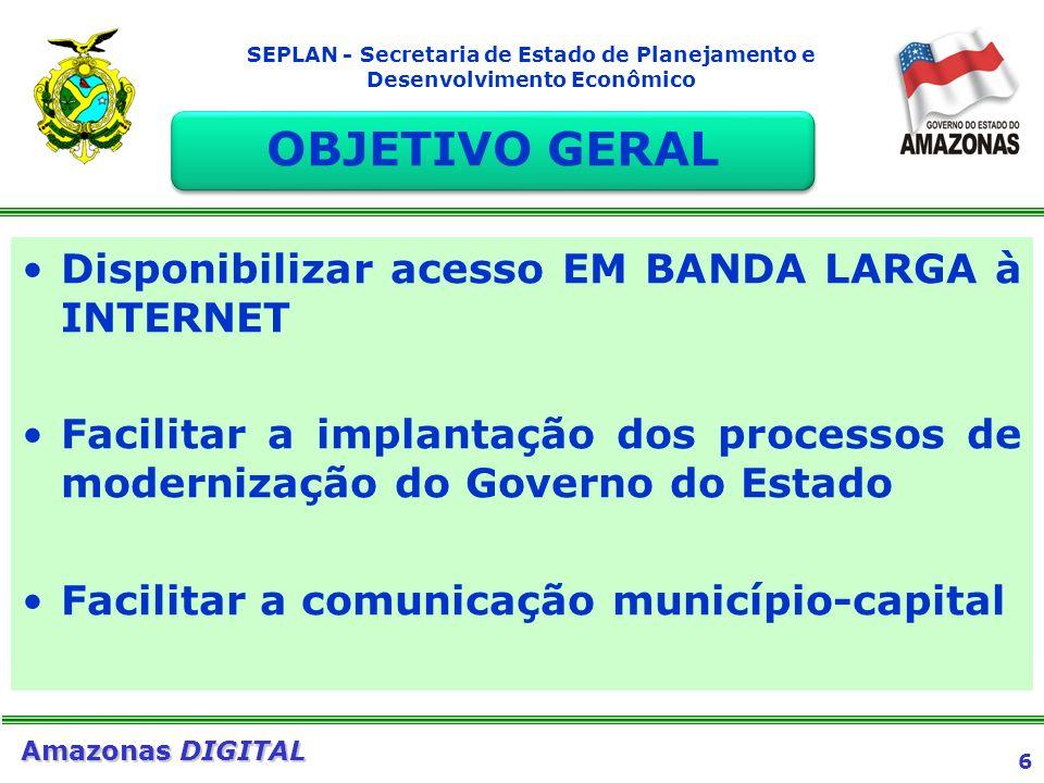 OBJETIVO GERAL Disponibilizar acesso EM BANDA LARGA à INTERNET