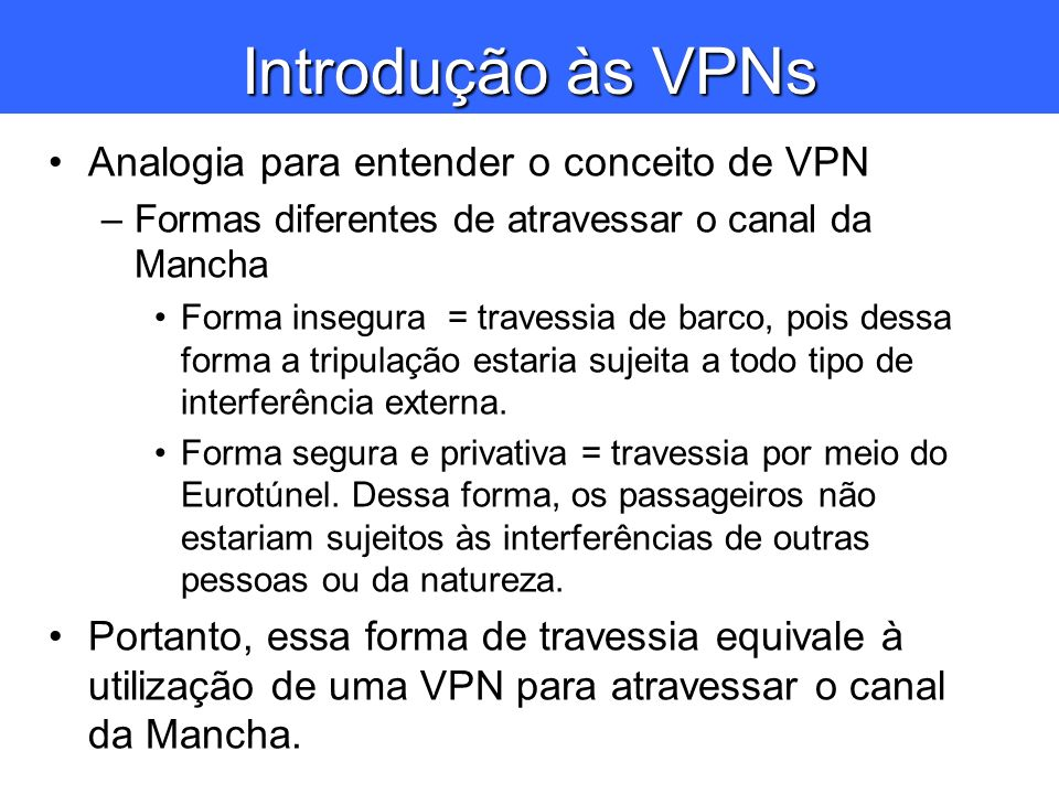 Introdução às VPNs Analogia para entender o conceito de VPN