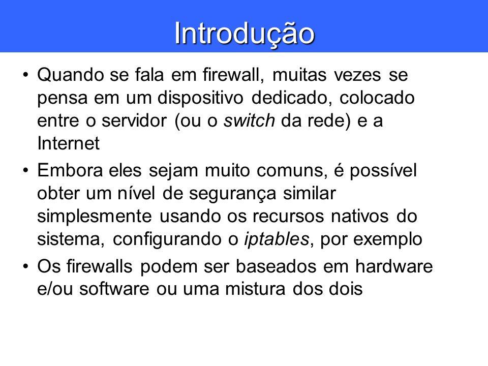 Introdução Quando se fala em firewall, muitas vezes se pensa em um dispositivo dedicado, colocado entre o servidor (ou o switch da rede) e a Internet.
