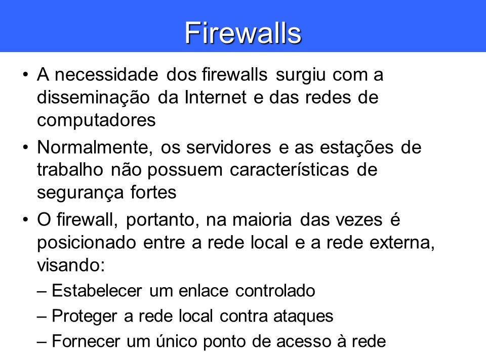 Firewalls A necessidade dos firewalls surgiu com a disseminação da Internet e das redes de computadores.
