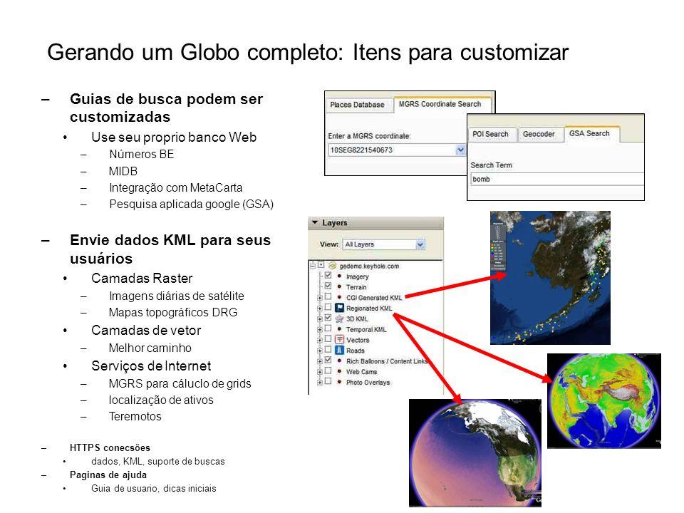 Gerando um Globo completo: Itens para customizar