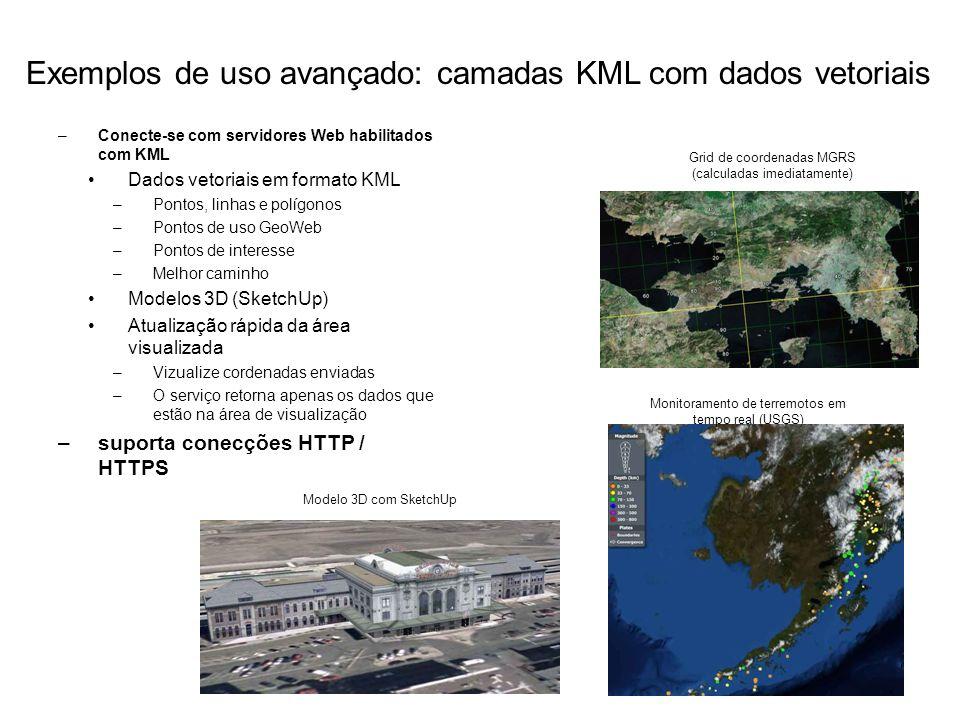 Exemplos de uso avançado: camadas KML com dados vetoriais